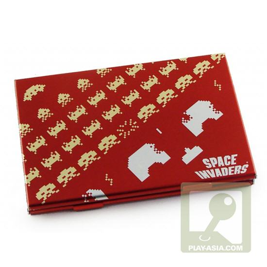 Retro gaming style space invaders business card holders for Video game business cards
