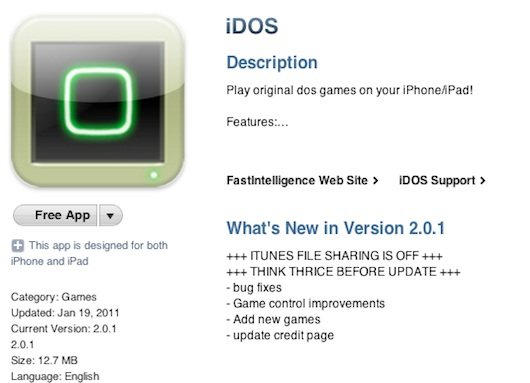 DOS Emulator for the iPhone/iPad Makes It Back to the App Store